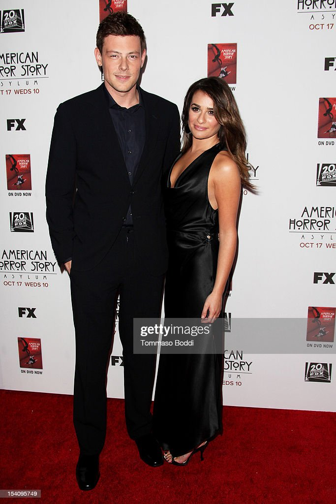 Cory Monteith (L) and Lea Michele attend the 'American Horror Story: Asylum' Los Angeles premiere held at Paramount Studios on October 13, 2012 in Hollywood, California.