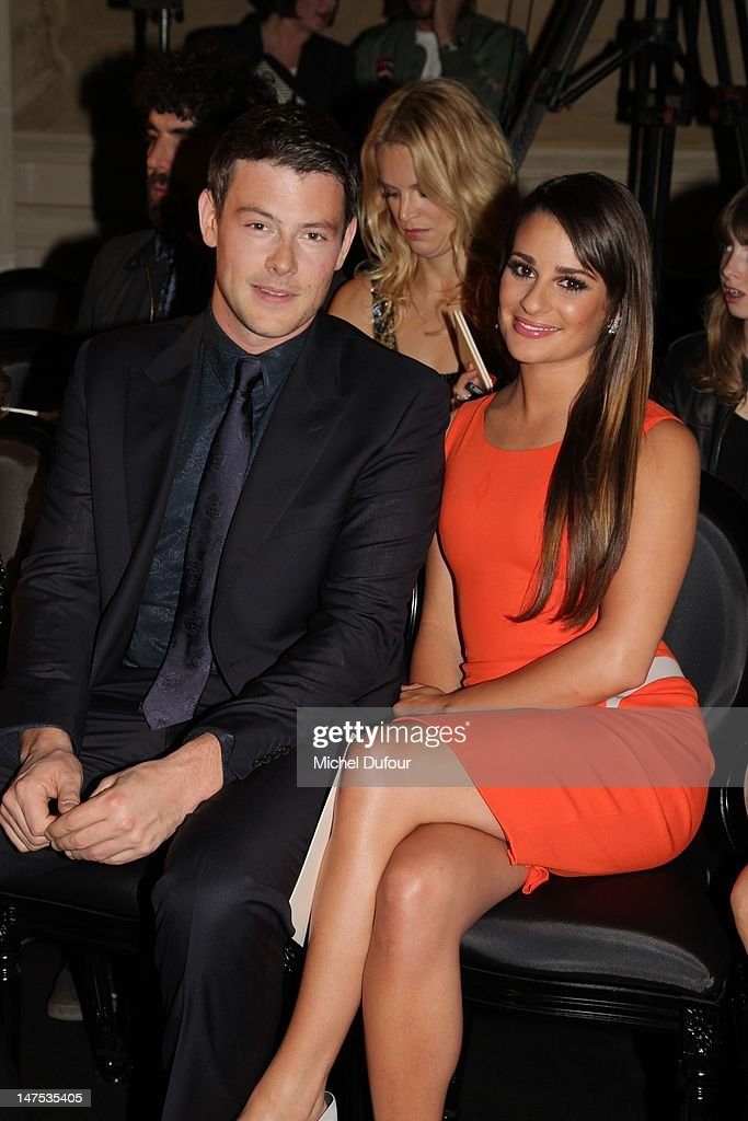 Cory Monteith and Lea Michele attend the Versace Haute-Couture Show as part of Paris Fashion Week Fall / Winter 2012/13 on July 1, 2012 in Paris, France.
