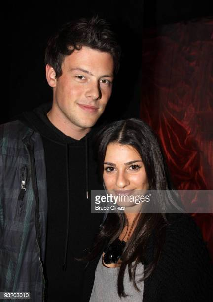 Cory Monteith and Lea Michele pose backstage at Love Loss and What I Wore at The Westside Theater on November 1 2009 in New York City