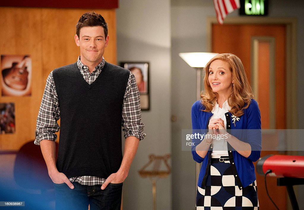 Cory Monteith as 'Finn' (L) and Jayma Mays as 'Emma' on Season Four of GLEE airing Thursday, February 7, 2013 (9:00-10:00 PM ET/PT) on FOX.