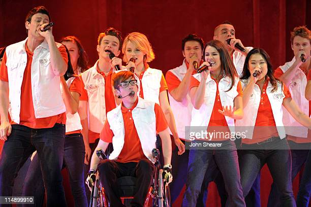 Cory Monteith, Chris Colfer, Kevin McHale, Dianna Agron, Harry Shum Jr., Lea Michele, Mark Salling, and Jenna Ushkowitz perform on the Glee! concert...