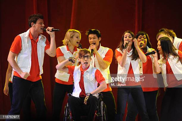 Cory Monteith, Dianna Agron, Kevin McHale, Harry Shum, Jr., Lea Michele, Amber Riley, and Jenna Ushkowitz perform during Glee Live! at the Verizon...