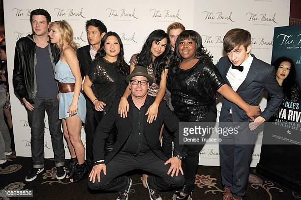 Cory Monteith, Heather Morris, Harry Shum, Jenna Ushkowitz, Naya Rivera, Kevin McHale and Amber Riley arrive at Naya Rivera's birthday celebration at...