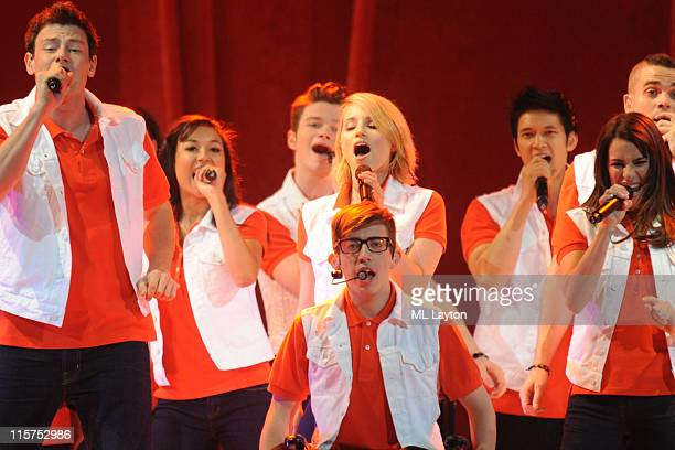 Cory Monteith, Naya Rivera, Chris Colfer, Dianna Agron, Kevin McHale, Harry Shum, Jr., Lea Michele, and Mark Salling perform during Glee Live! at the...