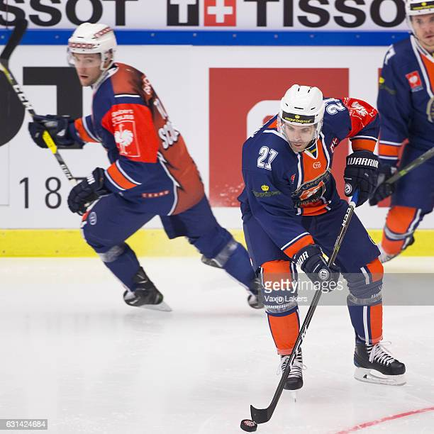 Cory Murphy of Vaxjo Lakers during the Champions Hockey League Semi Final match between Vaxjo Lakers and Sparta Prague at Vida Arena on January 10,...