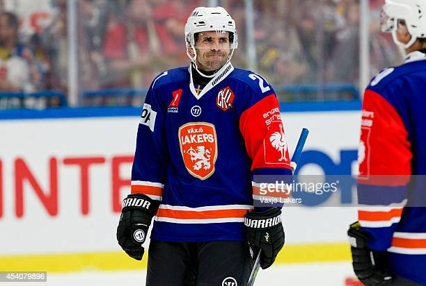 Cory Murphy of Växjö Lakers looks on during the Champions Hockey League group stage game between Vaxjo Lakers and Sparta Prague on August 24, 2014 in...