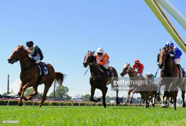 Cory Parish riding Ploverset defeating Mark Zahra riding Madeenaty in Race 3 during Melbourne Racing at Flemington Racecourse on March 4 2017 in...