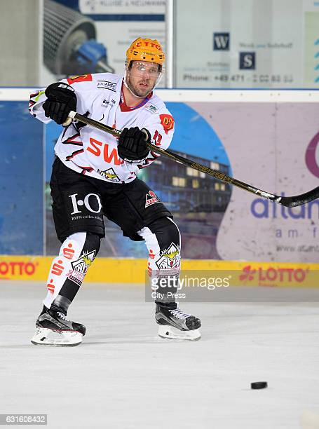 Cory Quirk of the Fischtown Pinguins passes the puck during the action shot on September 3 2016 in Bremerhaven Germany