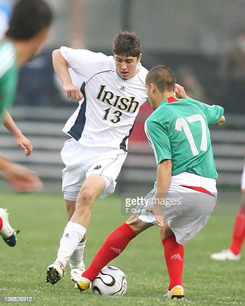 Cory Rellas loses the ball to Jose Daniel Guerrero Rodriguez of the Mexican team Notre Dame stunned the Mexican U20 World Cup team winning 10 in a...