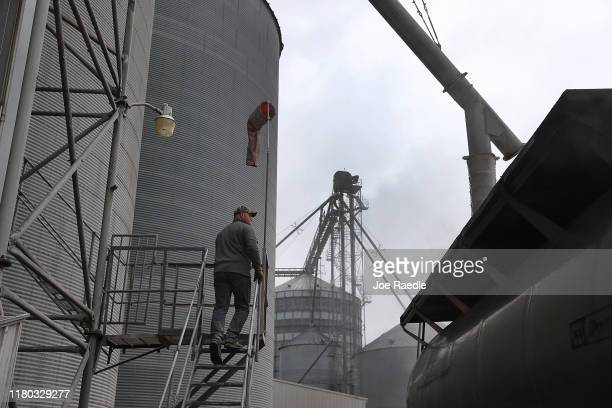 Cory Rhoads checks on the level of corn being poured into a truck at the BBP Feed Grain facility on October 10 2019 in Winterset Iowa The 2020 Iowa...