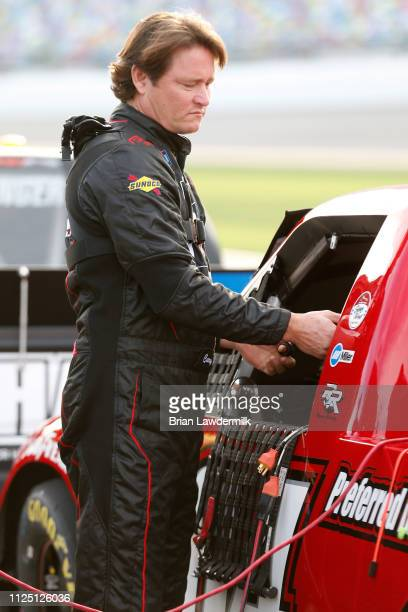 Cory Roper driver of the Ford during qualifying for NASCAR Gander Outdoor Truck Series NextEra 250 at Daytona International Speedway on February 15...