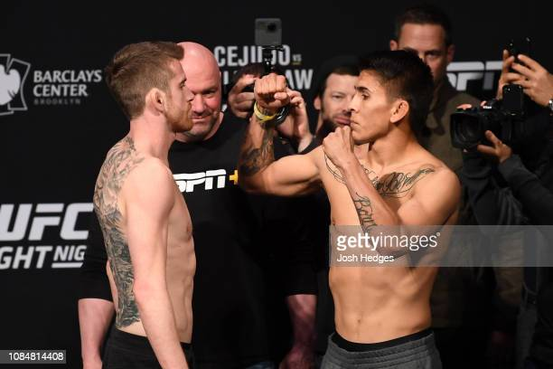 Cory Sandhagen and Mario Bautista face off during the UFC Fight Night weighin at Barclays Center on January 18 2019 in the Brooklyn borough of New...