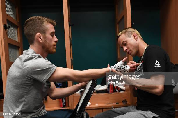 Cory Sandhagen gets his hands wrapped backstage during the UFC Fight Night event at BBT Center on April 27 2019 in Sunrise Florida