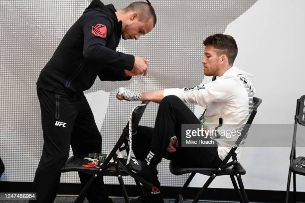 Cory Sandhagen has his hands wrapped backstage during the UFC 250 event at UFC APEX on June 06 2020 in Las Vegas Nevada