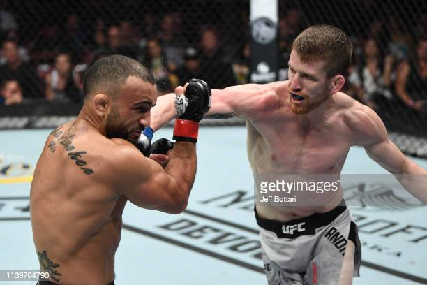 Cory Sandhagen punches John Lineker of Brazil in their bantamweight bout during the UFC Fight Night event at BBT Center on April 27 2019 in Sunrise...