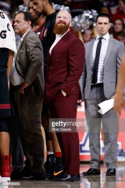 Cory Schlesinger of the Stanford Cardinal during a timeout in the college basketball game against the Arizona Wildcats at McKale Center on March 1,...