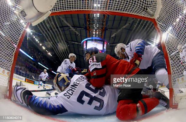 Cory Schneider, goaltender of United States tends net against Mark Stone of United States during the 2019 IIHF Ice Hockey World Championship Slovakia...