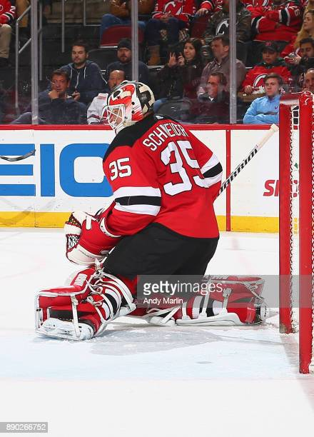 Cory Schneider of the New Jersey Devils defends his net against the Columbus Blue Jackets during the game at Prudential Center on December 8 2017 in...