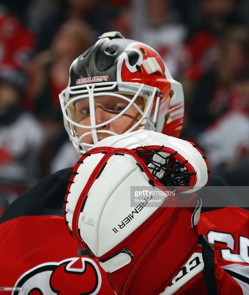 Cory Schneider #35 of the New Jersey Devils skates against the Columbus Blue Jackets at the Prudential Center on December 8, 2017 in Newark, New Jersey. The Blue Jackets defeated the Devils 5-3.