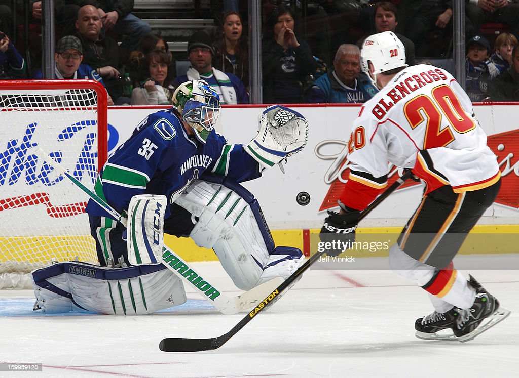 Cory Schneider #35 of the Vancouver Canucks makes a glove save off the shot of Curtis Glencross #20 of the Calgary Flames in the shootout during their NHL game at Rogers Arena January 23, 2013 in Vancouver, British Columbia, Canada. Vancouver won 3-2 in a shootout.