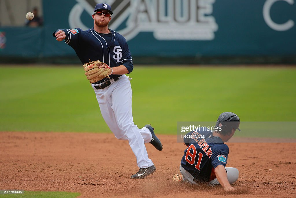 Cory Spangenberg #15 of San Diego Padres tags Joe Sclafani #81 of Houston Astros during the preseason match between Houston Astros and San Diego Padres at Fray Nano Stadium on March 27, 2016 in Mexico City, Mexico.
