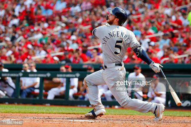 Cory Spangenberg of the Milwaukee Brewers hits a tworun home run against the St Louis Cardinals in the seventh inning at Busch Stadium on September...