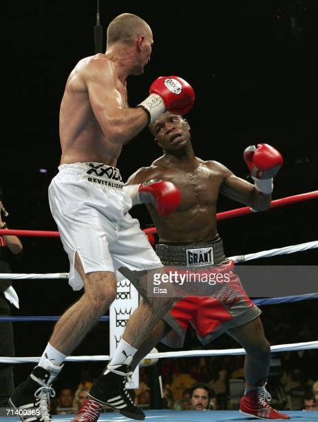 Cory Spinks throws a punch at Roman Karmazin during their IBF junior middleweight title bout on July 8 2006 at the Savvis Center in St Louis Missouri...