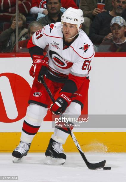 Cory Stillman of the Carolina Hurricanes handles the puck against the Montreal Canadiens on October 13, 2007 at the Bell Centre in Montreal, Quebec....