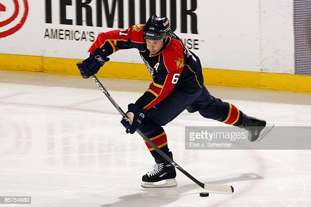 Cory Stillman of the Florida Panthers passes the puck against the Ottawa Senators at the Bank Atlantic Center on March 31 2009 in Sunrise Florida