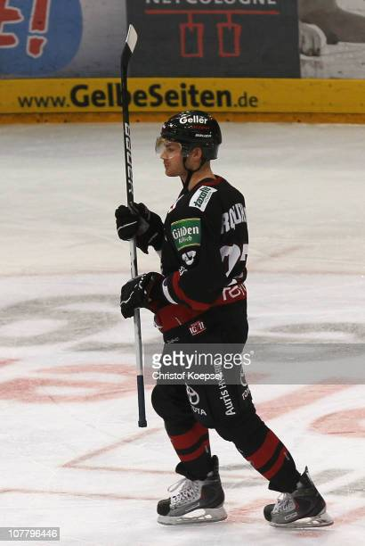 Cory Urquhart of Koelner Haie celebrates the first goal during the DEL match between Koelner Haie and ERC Ingolstadt at Lanxess Arena on December 28...