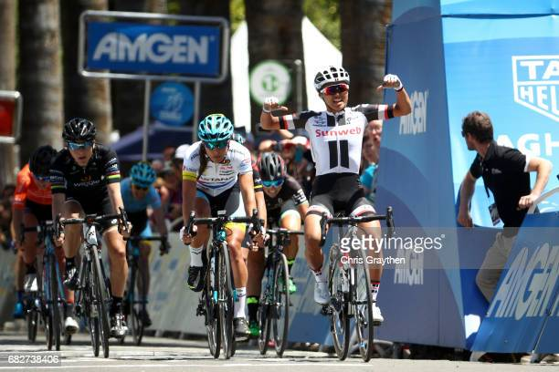 Coryn Rivera of the United States riding for Team Sunweb reacts after winning Stage 3 of the Amgen Breakaway From Heart Disease Women's Race...