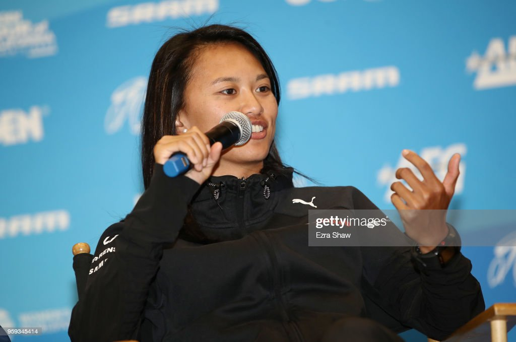 Coryn RiveraÊof the United States riding for Team Sunweb speaks to the media at the pre-race press event for the Amgen Tour of California Women's Race Empowered with SRAM at the Elk Grove Regional Park Pavilion on May 16, 2018 in Elk Grove, California.