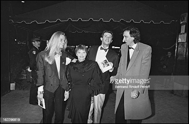 "Corynne Charby, Diane Tell, Philippe Lavil, at the ""Victoires De La Musique"" French music awards ceremony in 1986."