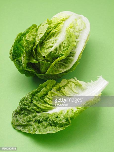 a cos lettuce and a single leaf - romaine lettuce stock photos and pictures