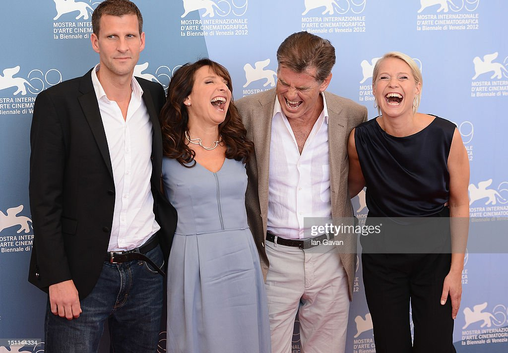 Co-screenwriter Anders Thomas Jensen, director Susanne Bier, actor Pierce Brosnan and actress Trine Dyrholm attend the 'Love Is All You Need' photocall during The 69th Venice Film Festival at the Palazzo del Casino on September 2, 2012 in Venice, Italy.