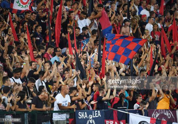 Cosenza Calcio supporters cheer their team during the Serie B match between Cosenza and Salernitana at Stadio San Vito Maru on August 31, 2019 in...
