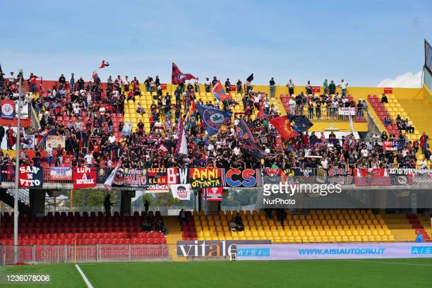 Cosenza Calcio Supporters during the Italian Football Championship League BKT Benevento Calcio vs Cosenza Calcio on October 23, 2021 at the Stadio...