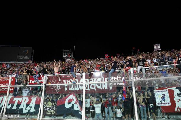 Cosenza Supporters celebrate the victory of the Lega Pro 17/18 Playoff final match between Robur Siena and Cosenza Calcio at Stadio Adriatico...