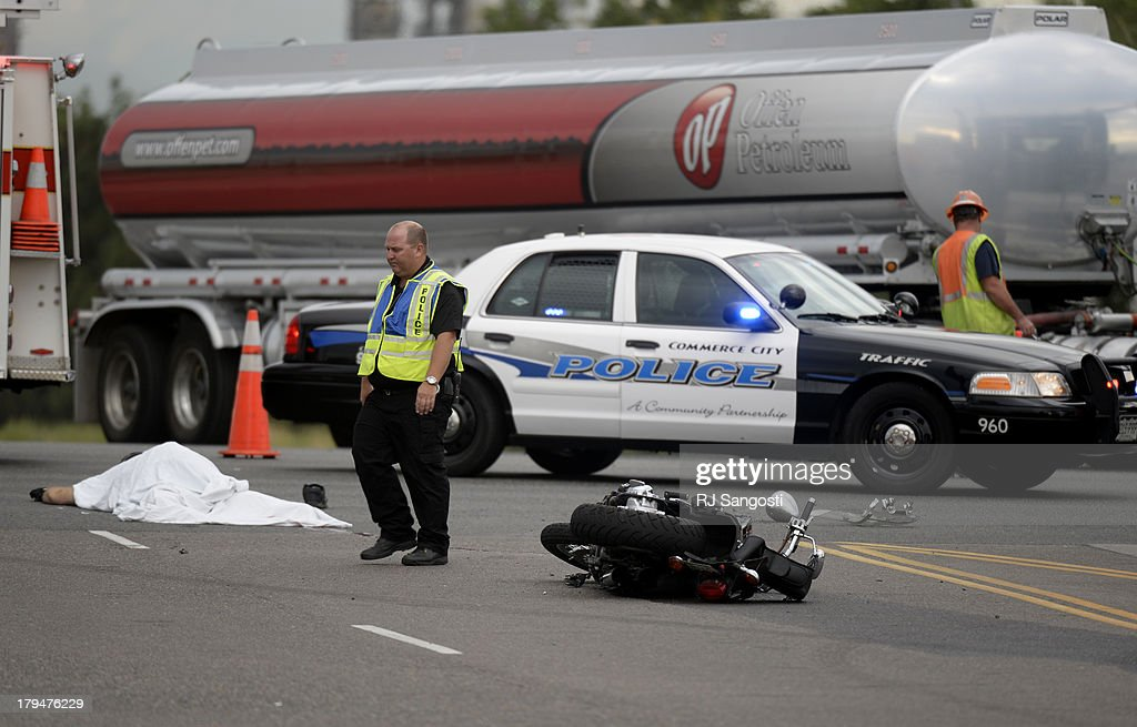 Commerce City Police investigate a motorcycle accident where a man