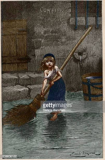 Cosette illustration from 'Les Miserables' by Victor Hugo 1862 after Emile Antoine Bayard 19th century engraving