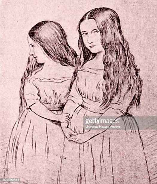 Cosima and Blandine Liszt, daughters of Franz Liszt a prolific 19th-century Hungarian composer. Drawing by Hemri Lehmann.