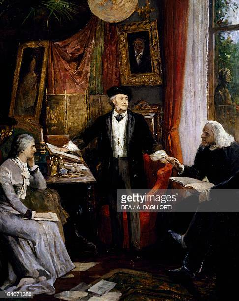 Cosima and Richard Wagner with Franz Liszt in Wahnfried house in Bauyreuth Germany 19th century Bayreuth RichardWagnerMuseum