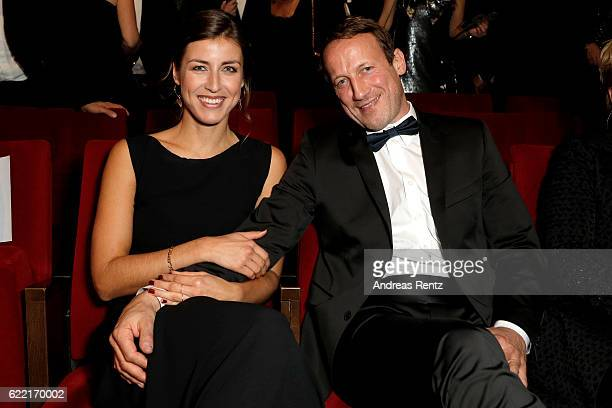 Cosima Lohse and Wotan Wilke Moehring are seen on stage after the GQ Men of the year Award 2016 show at Komische Oper on November 10, 2016 in Berlin,...