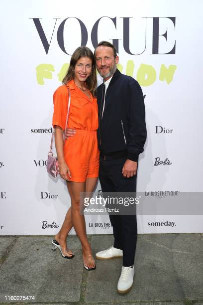 Cosima Lohse and Wotan Wilke Moehring at the Vogue party on July 05, 2019 in Berlin, Germany.