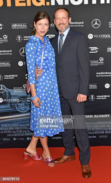 Cosima Lohse and Wotan Wilke Moehring attend the 'Steig. Nicht. Aus!' Premiere on April 9, 2018 in Berlin, Germany.