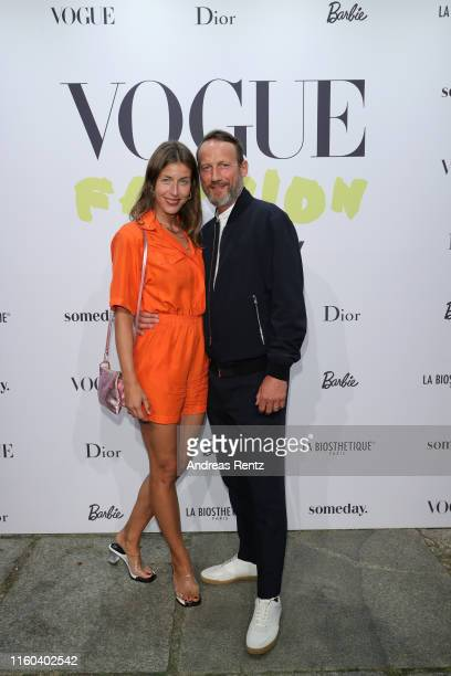 Cosima Lohse and Wotan Wilke Moehring attend the Vogue party on July 05, 2019 in Berlin, Germany.