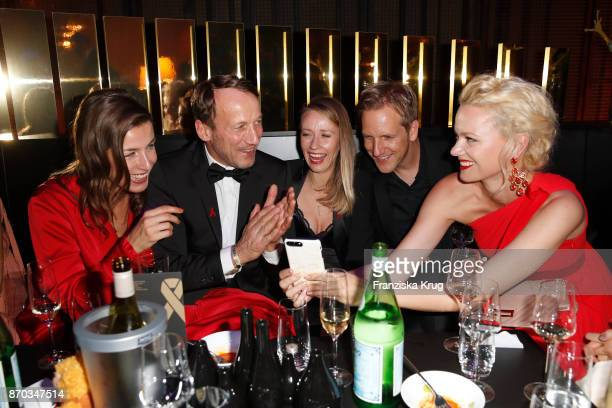 Cosima Lohse Wotan Wilke Moehring Jan Hahn his girlfriend Constanze and Franziska Knuppe wearing a dress by Minx during the aftershow party during...
