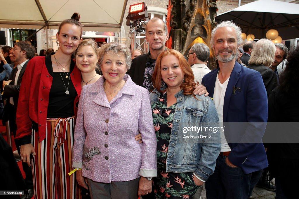 Cosima Viola, Sybille Waury, Marie-Luise Marjan, Georg Uecker, Rebecca Siemoneit-Barum and Moritz Zielke attend the 'Film- und Medienstiftung NRW' summer party at Wolkenburg on June 13, 2018 in Cologne, Germany.