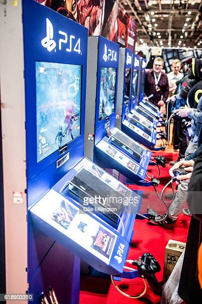 Coslayers playing PS4 games on day 1 of the MCM London Comic Con at ExCel on October 28 2016 in London England