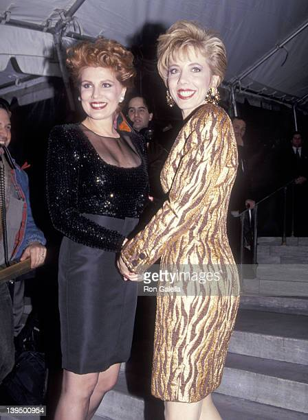 Cosmetic entrepreneur Georgette Mosbacher and her sister Lyn Paulsin attend the Vogue Magazine's 100th Anniversary Celebration on April 2 1992 at New...